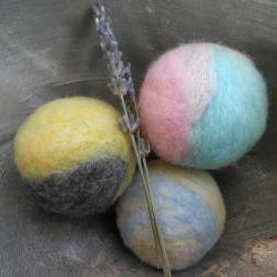 Lavender filled wool balls. Drawer fresheners, suitcase freshener, closet scent, linen cupboard scent, natural room freshener. Dryer Ball set enhancer.