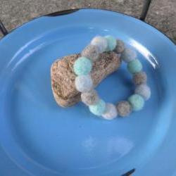 Wool bead bracelet.  Mala bracelet, eco friendly jewelry, boho jewelry.  Aqua, grey and ivory wool bracelet.  Wool ball bracelet.  Unique jewelry.  One-of-a-kind.