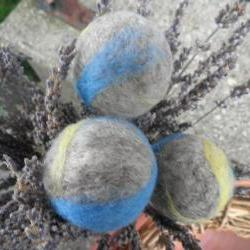 Lavender filled wool balls, set of 3. Drawer fresheners, clset scents, suitcase freshener. Eco Friendly air freshener. Unique gift.